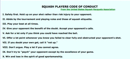 Squash Player Code of Conduct