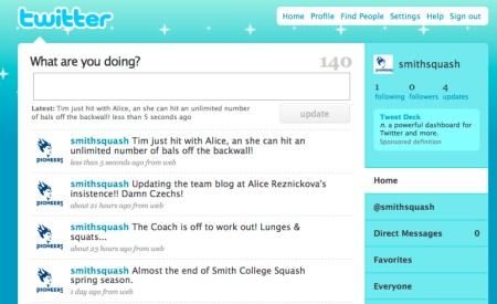 Smith College Squash & Twitter