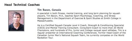 Tim Bacon, Smith College Squash Head Coach